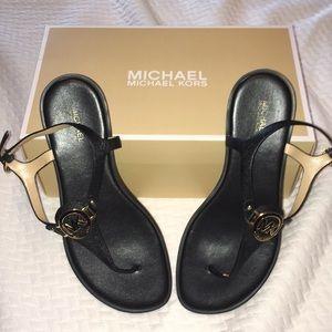 Michael Kors Black Lee Thong Sandals.